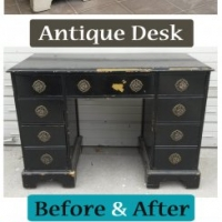 Before & After - Antique Desk in distressed Off White with Tobacco Glaze. Pulls painted Turquoise.