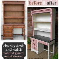 Chunky Desk & Hutch Off White, Pink & Brown