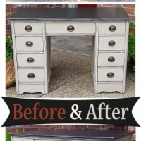 Desk Dk Brown & Oatmeal - Before & After