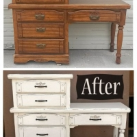 Off White Desk Chest - Before & After