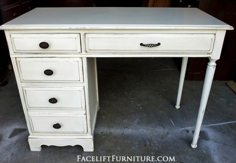 Distressed White Computer Desk With Office Furniture