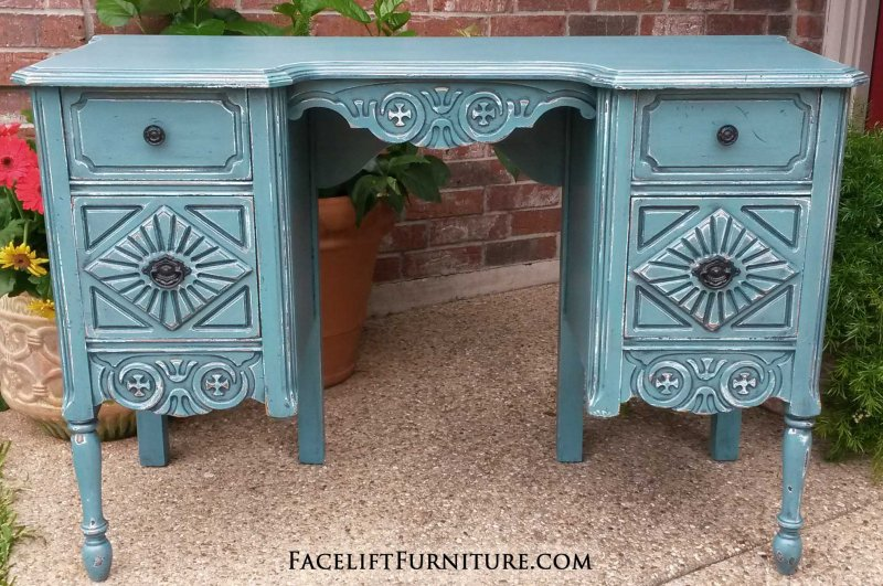 Ornate Vanity Desk In Sea Blue With Black Glaze. Heavy Distressing Reveals  White Primer And