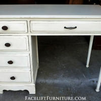 Distressed Antiqued White Desk. From Facelift Furniture's Desk & Vanities collection.