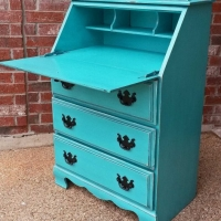 Drop down Secretary Desk in distressed Turquoise with Black Glaze. Vintage pulls painted black. From Facelift Furniture's Desk & Vanities collection.