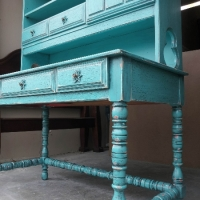 Ornate Vintage Desk with Hutch in Turquoise with Black Glaze. Distressing reveals original red-orange color. From Facelift Furniture's Desks & Vanities collection.