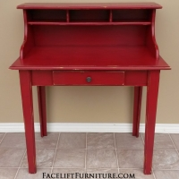 Charming Pine Secretary in distressed Barn Red with Black Glaze. From Facelift Furniture's Desk & Vanities collection.