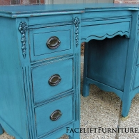 Antique vanity desk in distressed Peacock Blue and Black Glaze. Original hardware. From Facelift Furniture's Desk & Vanities collection.