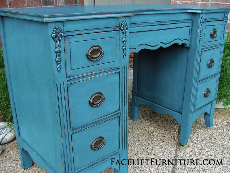 Antique Vanity Desk In Distressed Peacock Blue And Black Glaze. Original  Hardware. From Facelift