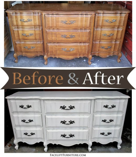 Antiqued White French Dresser - Before & After