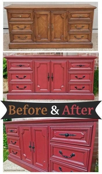 Barn Red Dresser Black Pulls - Before & After