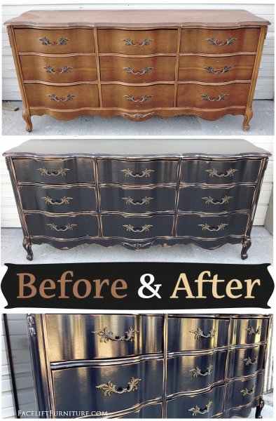 Before & After - French Dresser in distressed Kettle Black. From Facelift Furniture.