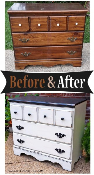 Black & Off White Dresser - Before & After