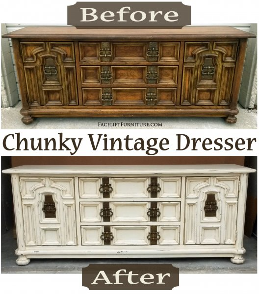 "Before & After - Chunky Vintage Dresser in distressed Off White with Tobacco Glaze. Original vintage pulls. <a href=""http://faceliftfurnit.wpengine.com/white-chunky-vintage-dresser/"">Read more about this dresser on our blog!</a>"