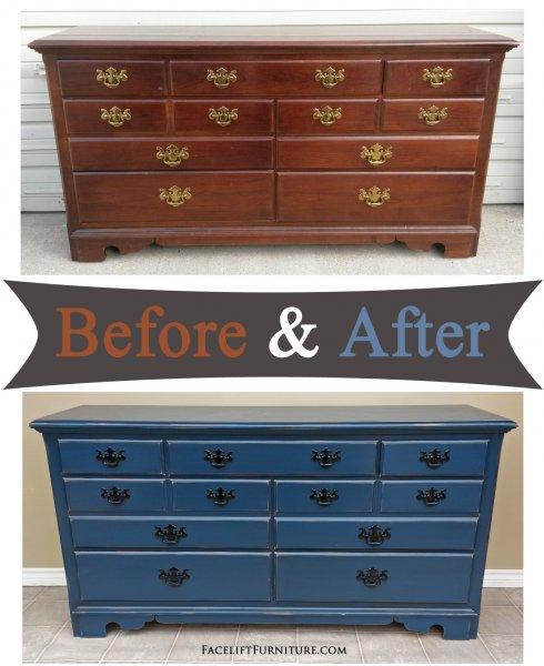Denim Blue Dresser - Before & After