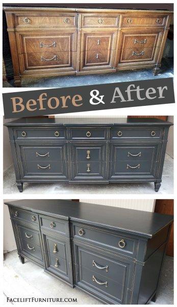 Distressed Black Dresser - Before & After