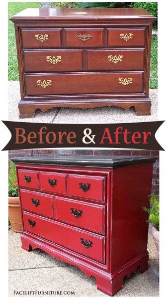 Dresser Barn Red & Dk Brown Side - Before & After