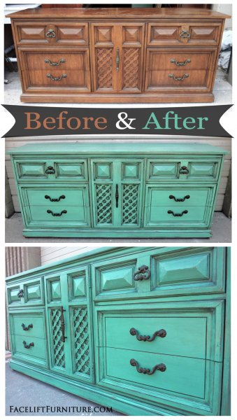 Before & After - Dixie dresser in distressed Jade with Black Glaze. From Facelift Furniture.