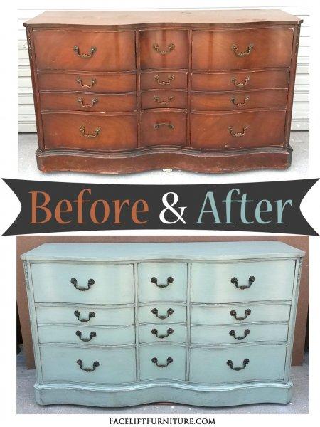 Light Sea Blue Cherry Dresser - Before & After