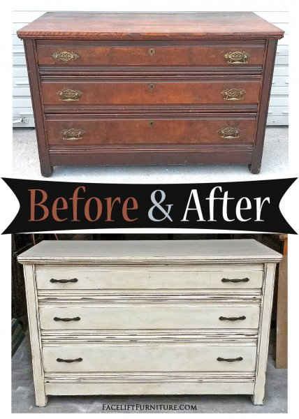 Antique Dresser in distressed Off White with Tobacco Glaze - Before and After from Facelift Furniture