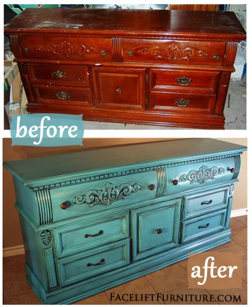 Before & After - Ornate Dresser in Turquoise with Black Glaze. New rustic pulls. From Facelift Furniture.