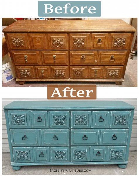 Ornate Sea Blue Dresser - Before & After