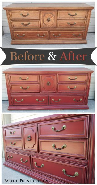Red Dresser - Before-After