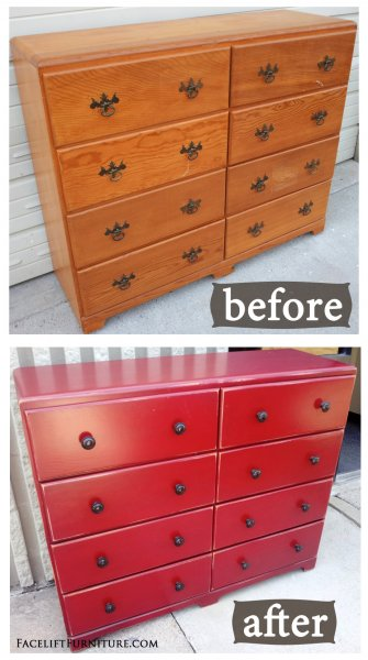 Before & After - Dresser in Bark Red with Black Glaze. New pulls.