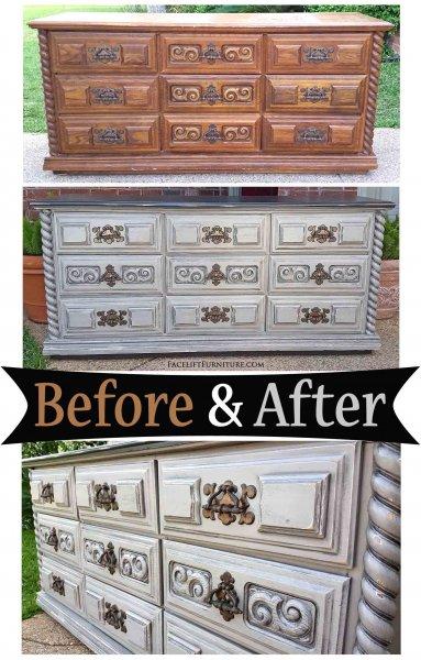 Retro Dresser Aspen Gray - Before & After