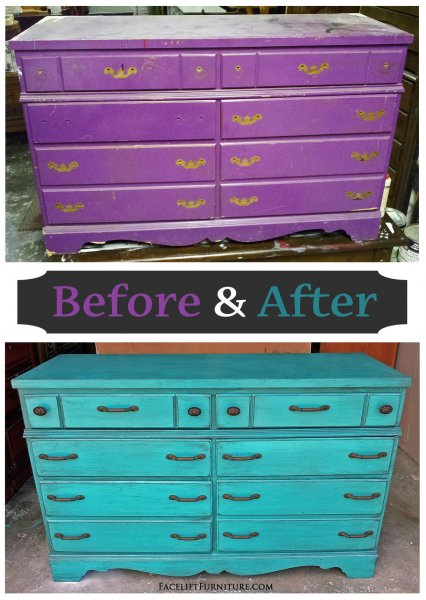Before & After - Rustic dresser in distressed Turquoise with Black Glaze. New pulls. From Facelift Furniture.