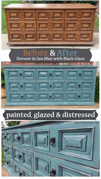 Sea Blue Dresser - Before & After