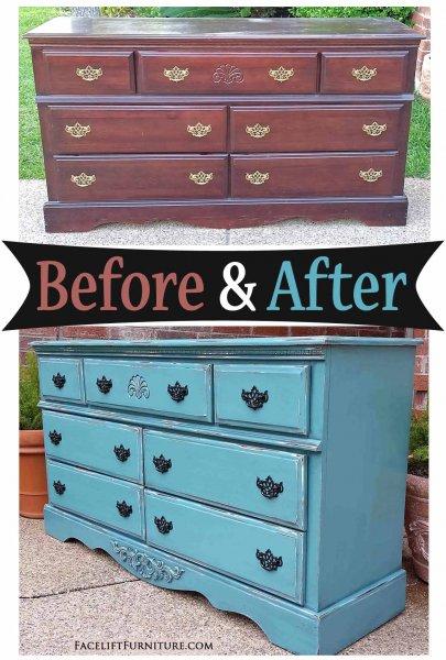 Sea Blue Dresser Side - Before & After