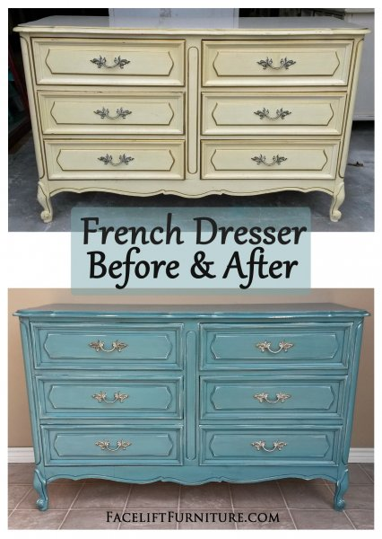 Before & After - French Dresser in distressed Sea Blue with Black Glaze. Original vintage pulls.