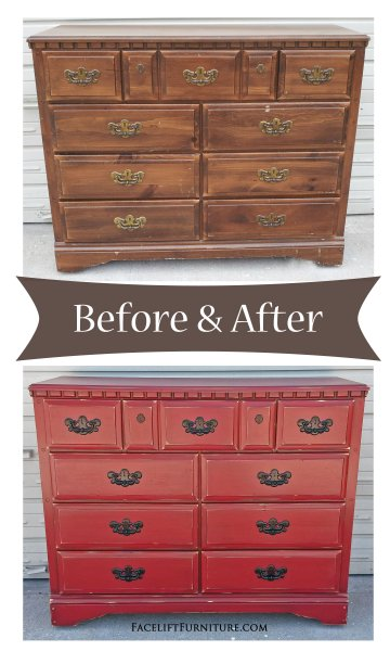 Before & After - Dresser in distressed Barn Red with Black Glaze. Vintage Pulls painted black. From Facelift Furniture.