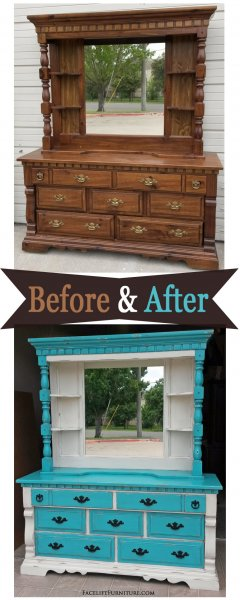 Before & After - Chunky Dresser and Mirror Hutch in distressed Turquoise and Off White with Black Glaze. From Facelift Furniture.