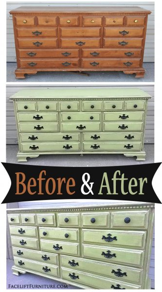 Yellow-Green Maple Dresser - Before & After