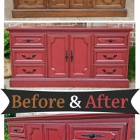 Barn Red Dresser Black Pulls - Before & After