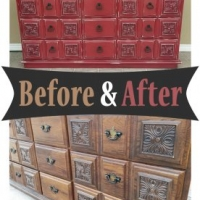Before & After - Ornate dresser in distressed Barn Red with Black Glaze. From Facelift Furniture.