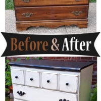 Black & Off White Dresser - Before & After