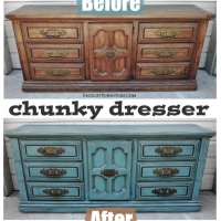 Chunky Dresser in distressed Sea Blue with Black Glaze - Before and After from Facelift Furniture