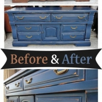 Chunky Dresser in distressed Denim Blue with Black Glaze - Before and After from Facelift Furniture