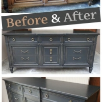 Distressed Black Dresser - Before & After