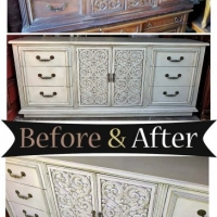 Before & After - Vintage dresser in distressed Weathered Grey with Tobacco Glaze. From Facelift Furniture.