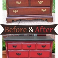 Dresser Barn Red & Dk Brown - Before & After