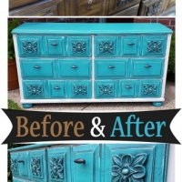 Dresser Turquoise & Off White - Before & After