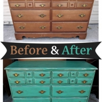Maple Dresser in distressed Jade with Black Glaze - Before and After from Facelift Furniture
