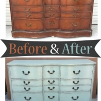 Light Sea Blue Cherry Dresser - Before & After