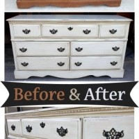 Before & After - Dresser in distressed Off White with Black Glaze. Original pulls painted black. From Facelift Furniture.