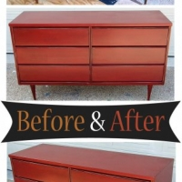 Before & After - Mid-century modern dresser in Red with Black Glaze. From Facelift Furniture.
