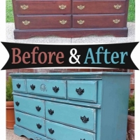 Sea Blue Dresser Side - Before & After