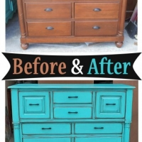 Tall Turquoise Dresser - Before & After